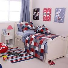 babyface boys bedding red blue mckenzie check patchwork ebay