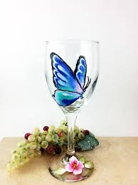 butterfly wine glass painted wine glasses butterfly home decor