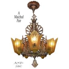 Art Deco Ceiling Light Fixtures Antique Art Deco Chandeliers 1930s Slip Shade Ceiling Lights