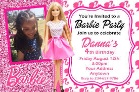barbie birthday invitation card free printable ideas sample of