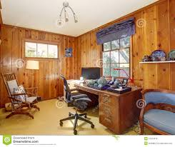 Wood Paneling Walls Traditional Home Office With Wood Panel Walls Stock Photo Image