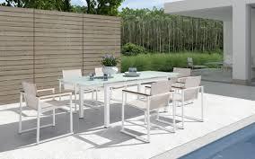 h73 modern extendable glass patio dining set