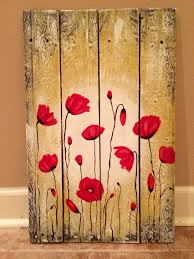 red poppy flowers painting on pallet wood by amy parker art www