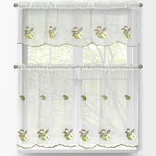 Kitchen Tier Curtains Window Elements Sheer Green Apple Embroidered 3 Piece Kitchen