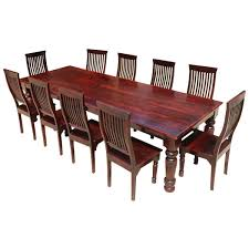american large rustic wood dining table and 10 chairs set