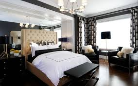 Mirrored Wall Panels Interior Dazzling Black And White Bedroom Idea With Leather Arm