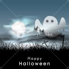 background for halloween banner or background for halloween party night with ghost royalty