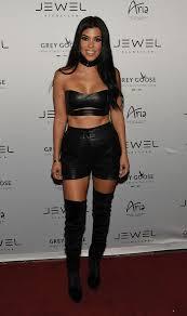 kourtney kardashian rocks a leather two piece in las vegas