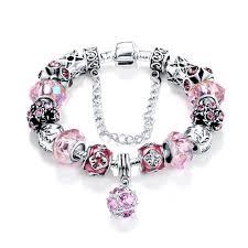 pandora silver link bracelet images Pink beads charm bracelet loraboutique jpg