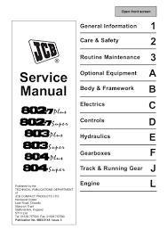 jcb 804super mini excavator service repair manual sn 735366 onwards