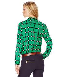 michael kors blouses lyst michael kors michael printed chainneck blouse in green