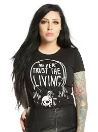 blackcraftcult never trust the living girls t shirt topic