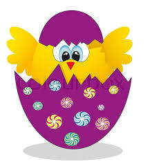 easter egg surprises yellow peeking out of an easter egg vector