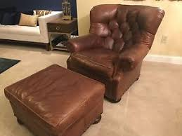 Brown Leather Chair With Ottoman Ralph Lauren Henredon Brown Genuine Leather Writer U0027s Chair Ottoman
