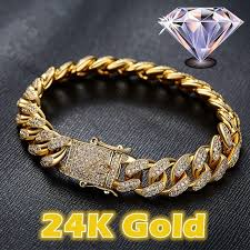 silver gold plated bracelet images Fashion mens womens chain hiphop iced out curb cuban 24k 18k jpg