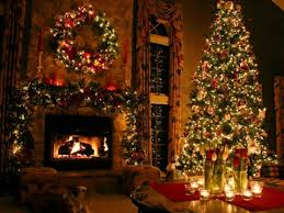 home decoration rustic fireplace with dim christmas decoration