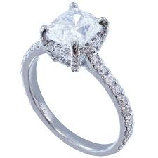 18k white gold cushion cut diamond engagement ring art deco 1 65ct