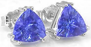 tanzanite stud earrings trillion tanzanite earrings ge 7007