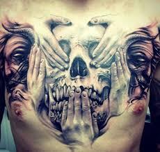 3d skull design on chest tattoos tattoos