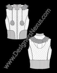 free vest fashion sketch puffer vest with fur trim hood zigzag