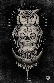 amazing owl and skull design inkedcollector