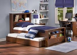 Twin Bedroom Ideas by Pretty Dark Brown Wooden Twin Bed Ideas With Modern Slide Bed And