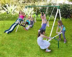 amazon com sportspower live oak metal swing and slide set toys