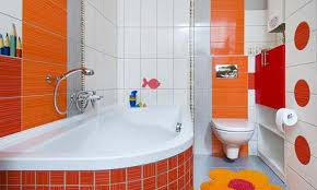kids bathroom ideas with orange colors