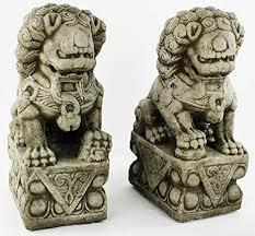 foo pair carved concrete sculpture cement garden