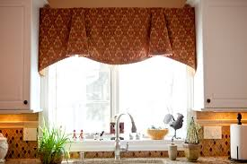 pretty brown fabric curtain valance kitchen window ideas for