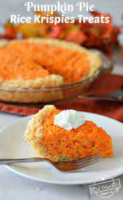 make and easy pumpkin pie rice krispies treats this fall or