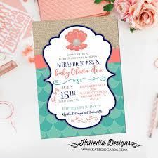 baby shower invitations under the sea mermaid baby shower invitation bridal 1343 pearl clam wedding