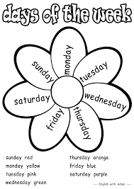 days of the week coloring activity grade 1 teaching esl