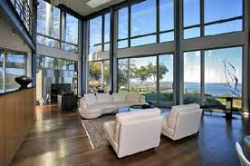 modern design glass house in new york livingroom a room with a