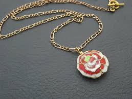 gold red rose necklace images One red rose necklace romantic cloisonn pendant on old gold jpg