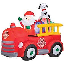 Fire Trucks Decorated For Christmas Amazon Com Christmas Inflatable Santa On Firetruck Garden U0026 Outdoor