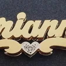 Double Plated Name Necklace Personalized Gold Overlay Double 3d Name From Myfamillystore On