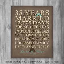 35 year anniversary gift burlap rustic by printsbychristine