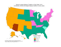 New York Times Census Map by A Map Of The Second Largest Religion In Each State