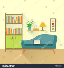 flat retro interior living room bookcasesofa stock vector