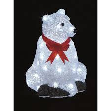 Blue Christmas Decorations Ireland by Premier Decorations Sitting Light Up Acrylic Lit Polar Bear 30cm