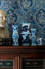 Blue And White Wallpaper by Ralph Lauren Pattern Mash Up Porcelain Vases And Floral
