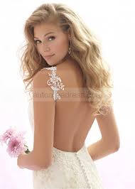 straps backless ivory satin champagne lace long wedding dress