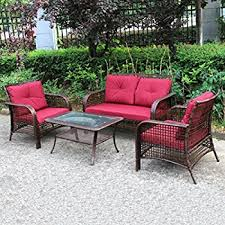 Gp Products Patio Furniture Amazon Com Cosco Outdoor 4 Piece Lakewood Ranch Steel Woven