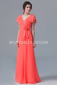 cap sleeve v neck 3d flowers coral chiffon long modern bridesmaid