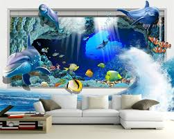 popular dolphin wall mural buy cheap dolphin wall mural lots from beibehang photo wall mural wall paper dolphin ocean underwater world 3d living room children room decorative