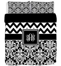 Black And White Chevron Bedding Custom Personalized Chevron U0026 Damask Duvet Cover Or Comforter