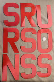 metal sign letters numbers lot stencil lettering w old red paint