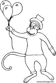 coloriage un singe avec des ballons dessin