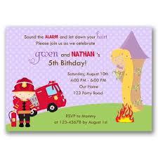 rapunzel and firefighter birthday invitation callachic